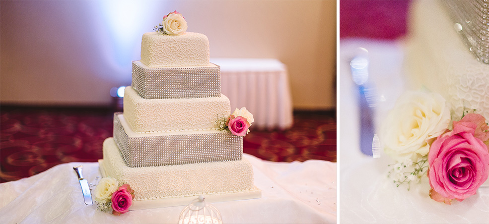 A photograph of wedding cake sitting on top of a table