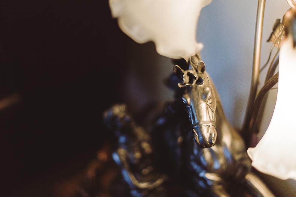 A close up of a metal figure
