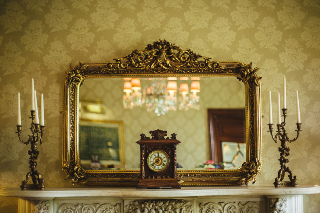 A clock decorated room