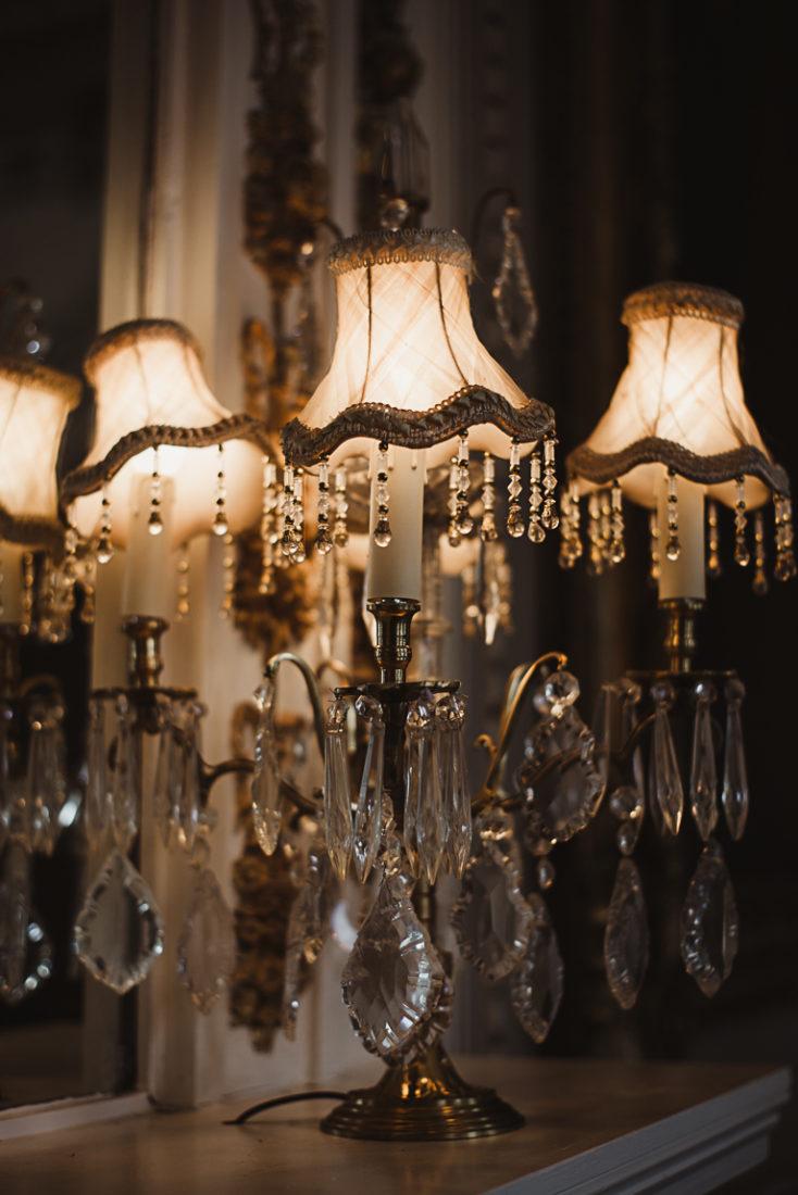 A closeup of darkened lamp