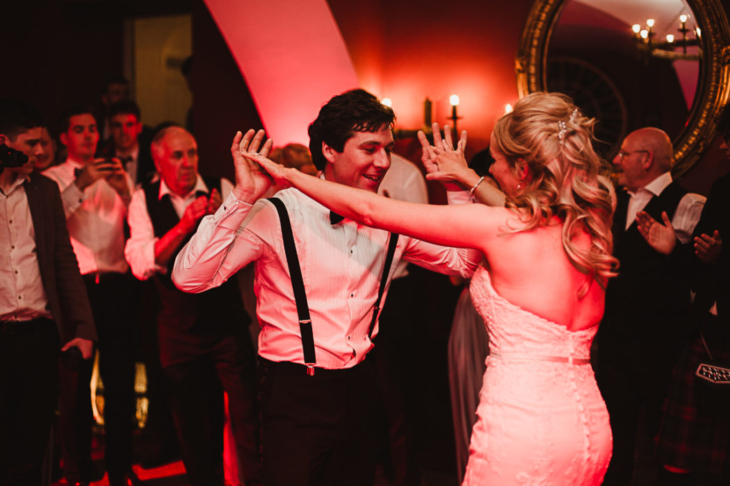 A couple dancing on the wedding party