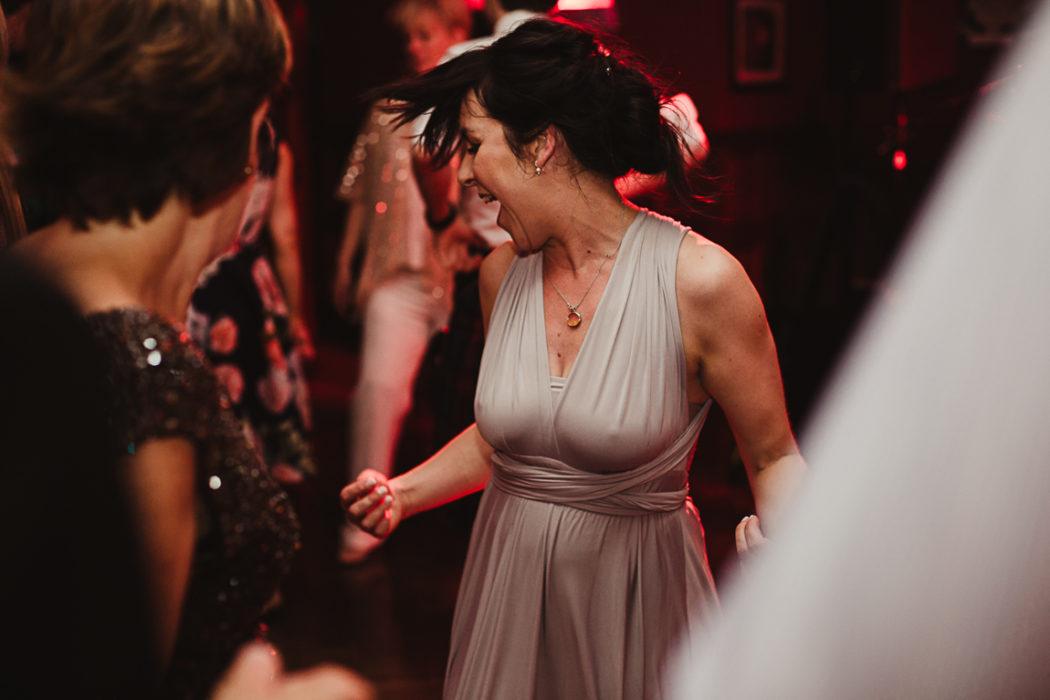 Girl in dress haveing fun dancing