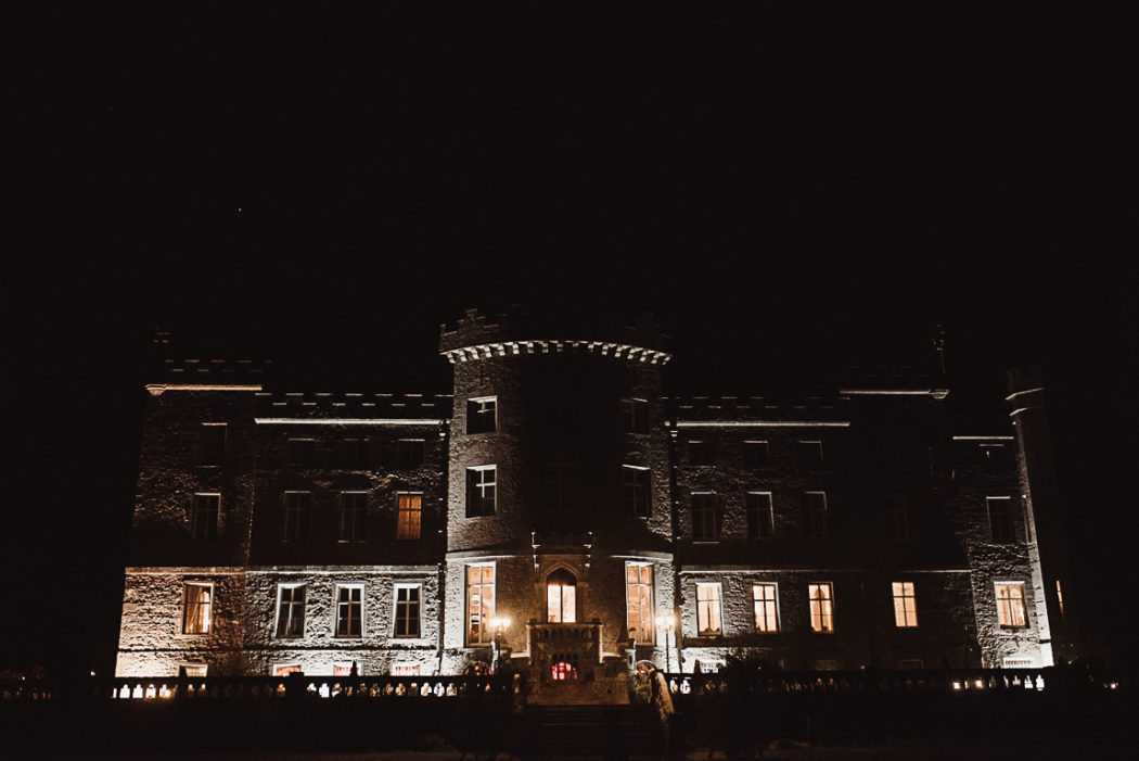 A view of a Markree Castle at night
