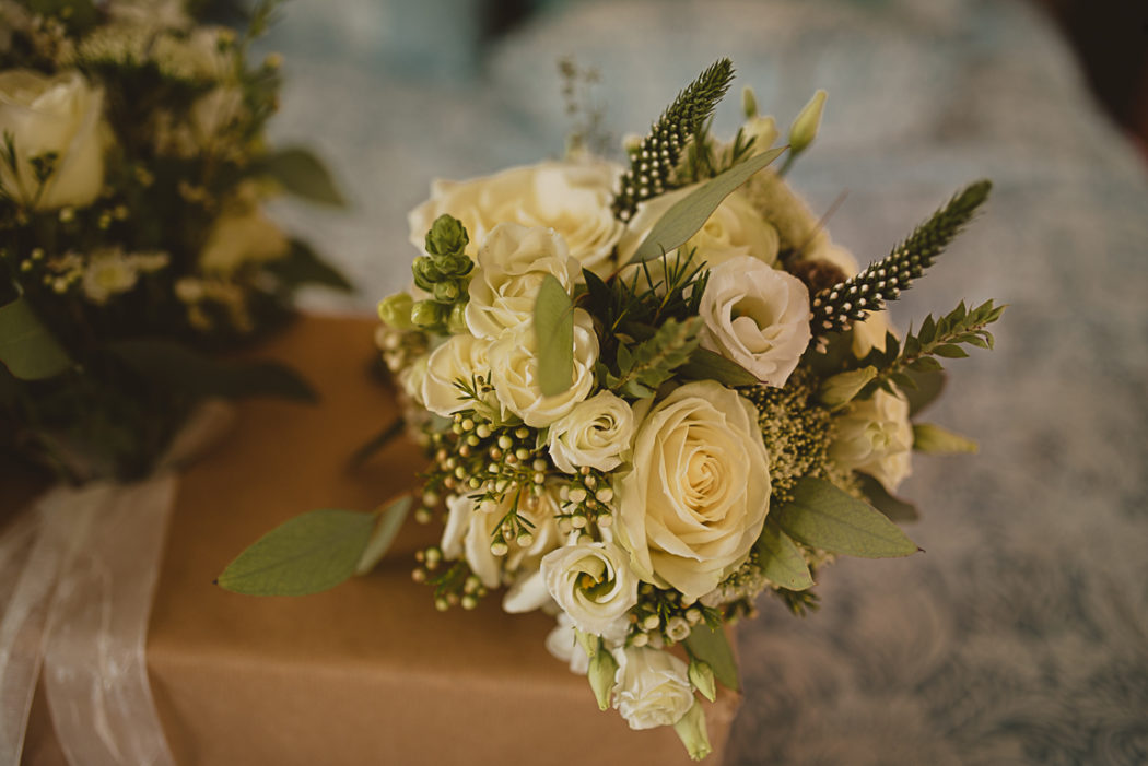 A bouquet of flowers on a table