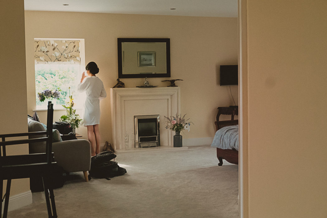 A person sitting in a living room