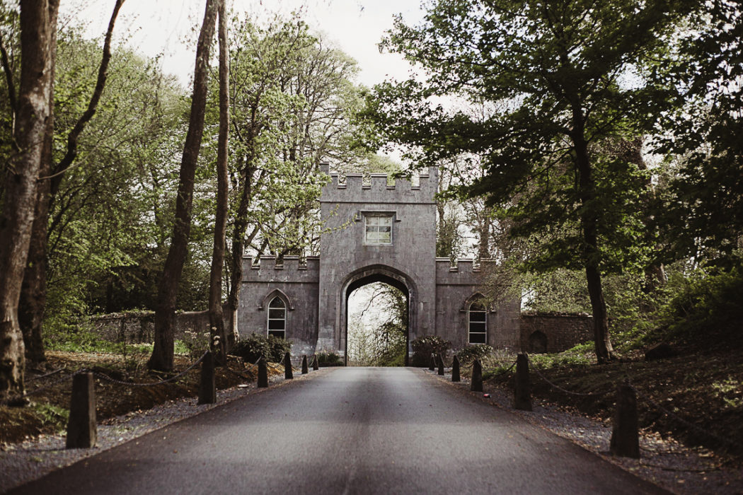 A gate of markree castle in the middle of a park