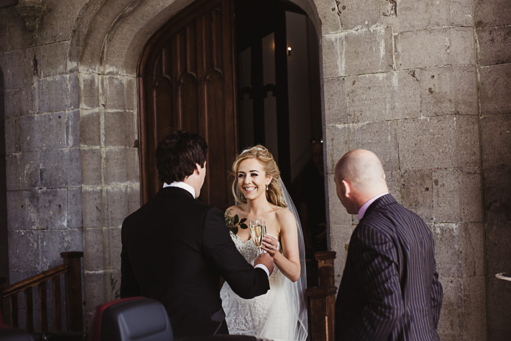 Photograph of wife and husband entering the markree castle