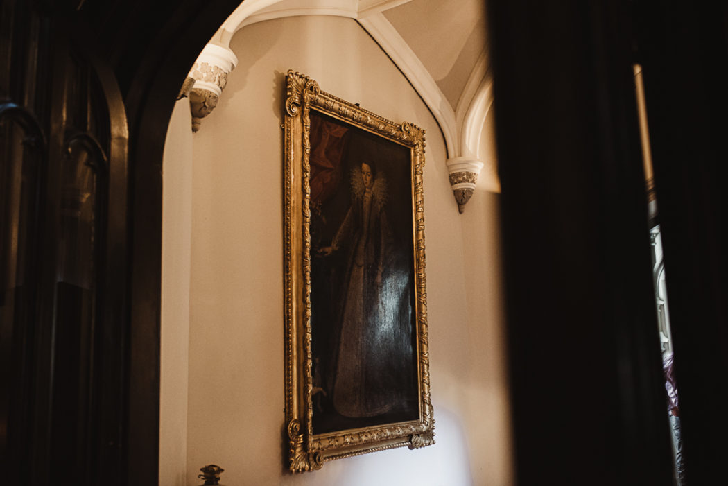 A room with a large painting