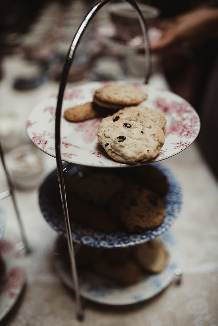 A close up of a plate covered with cookies