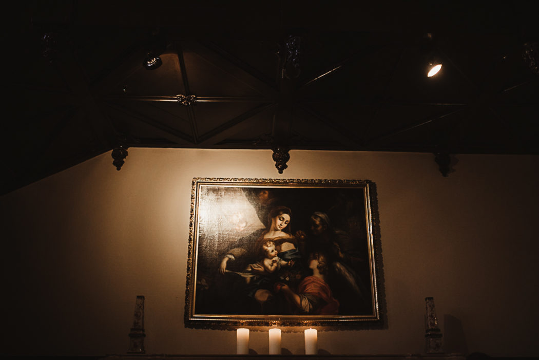 A painting in a dark room