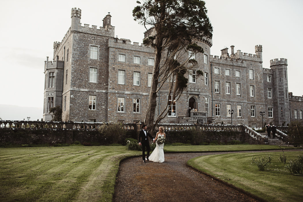 The newlyweds front of a Markree Castle