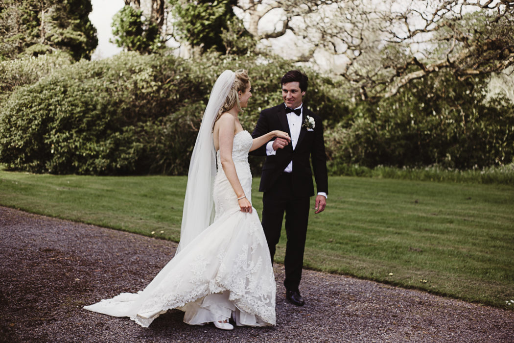 Photograph of bride and groom on a walk