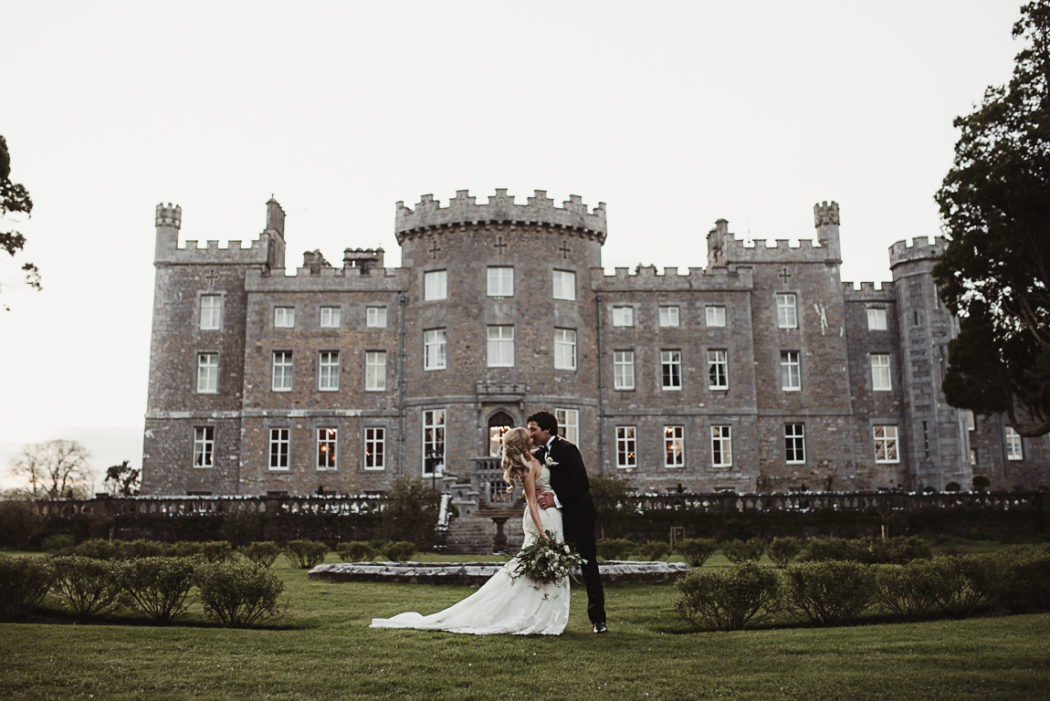 A couple standing in front of a building Markree Castle