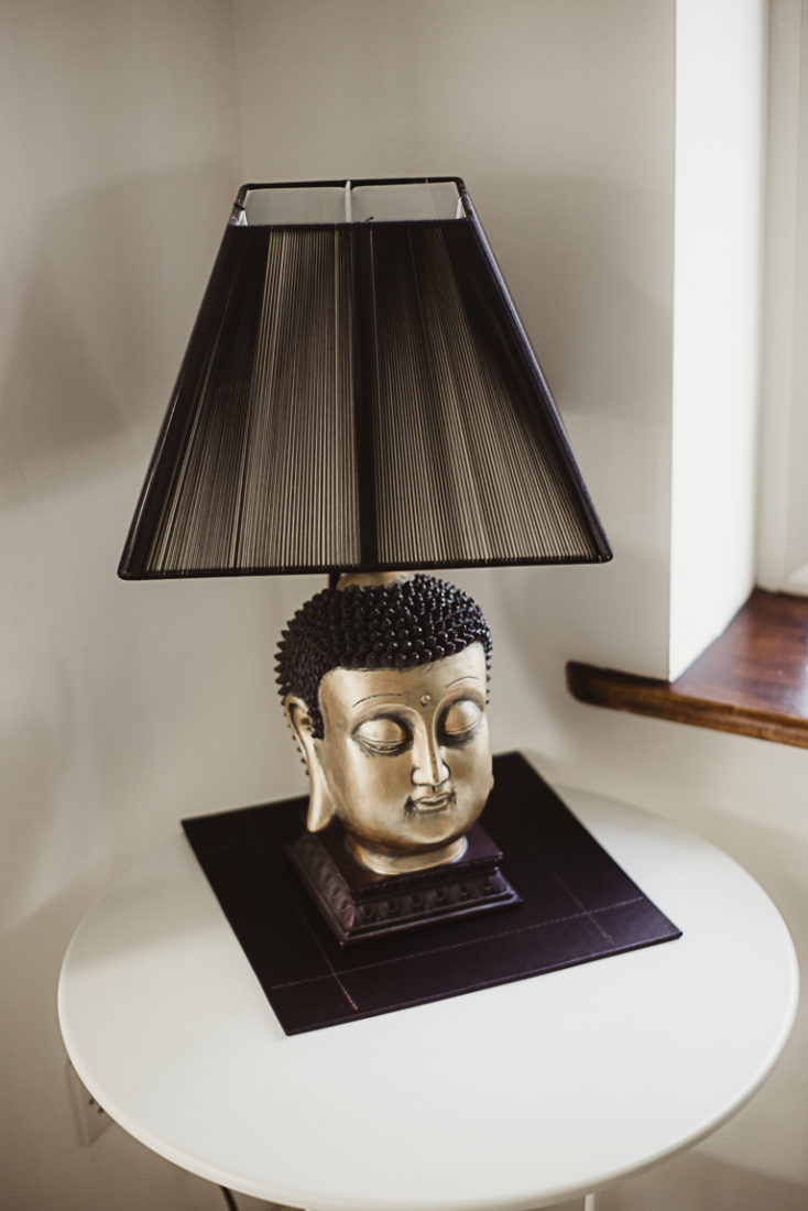 A lamp that is sitting on a table