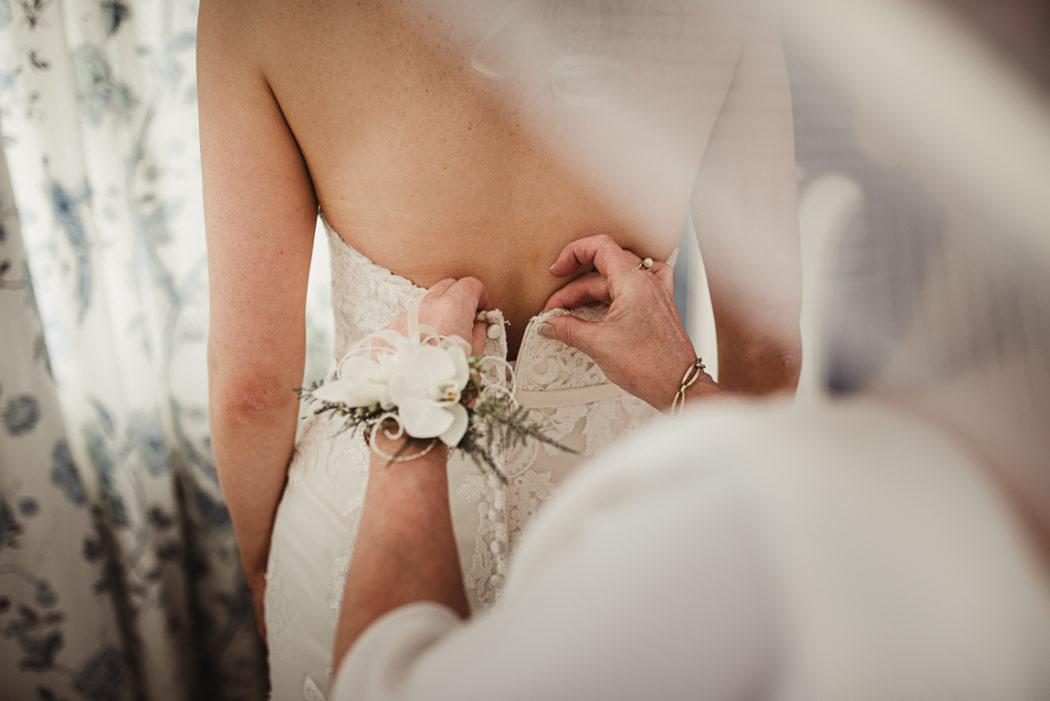 A bride wearing a white shirt