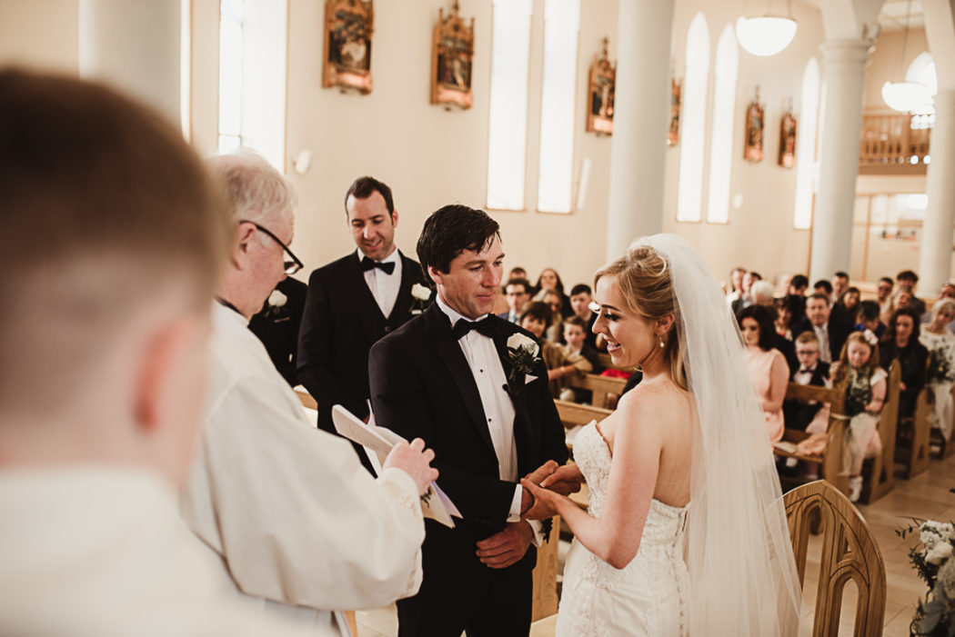 The photograph of newlyweds making the oath