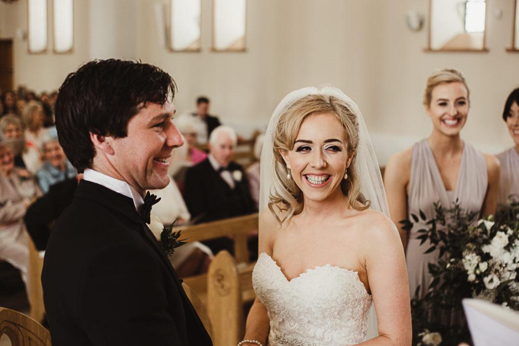 The newlyweds smiling