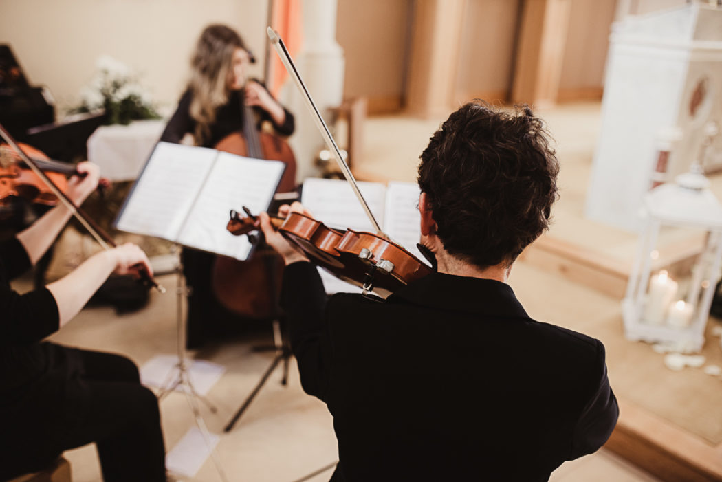 Musicians playing violin and bass on the wedding