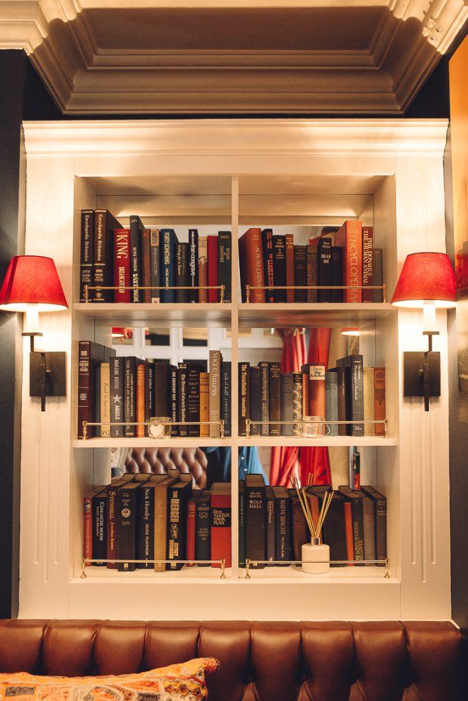 A close up of a book shelf