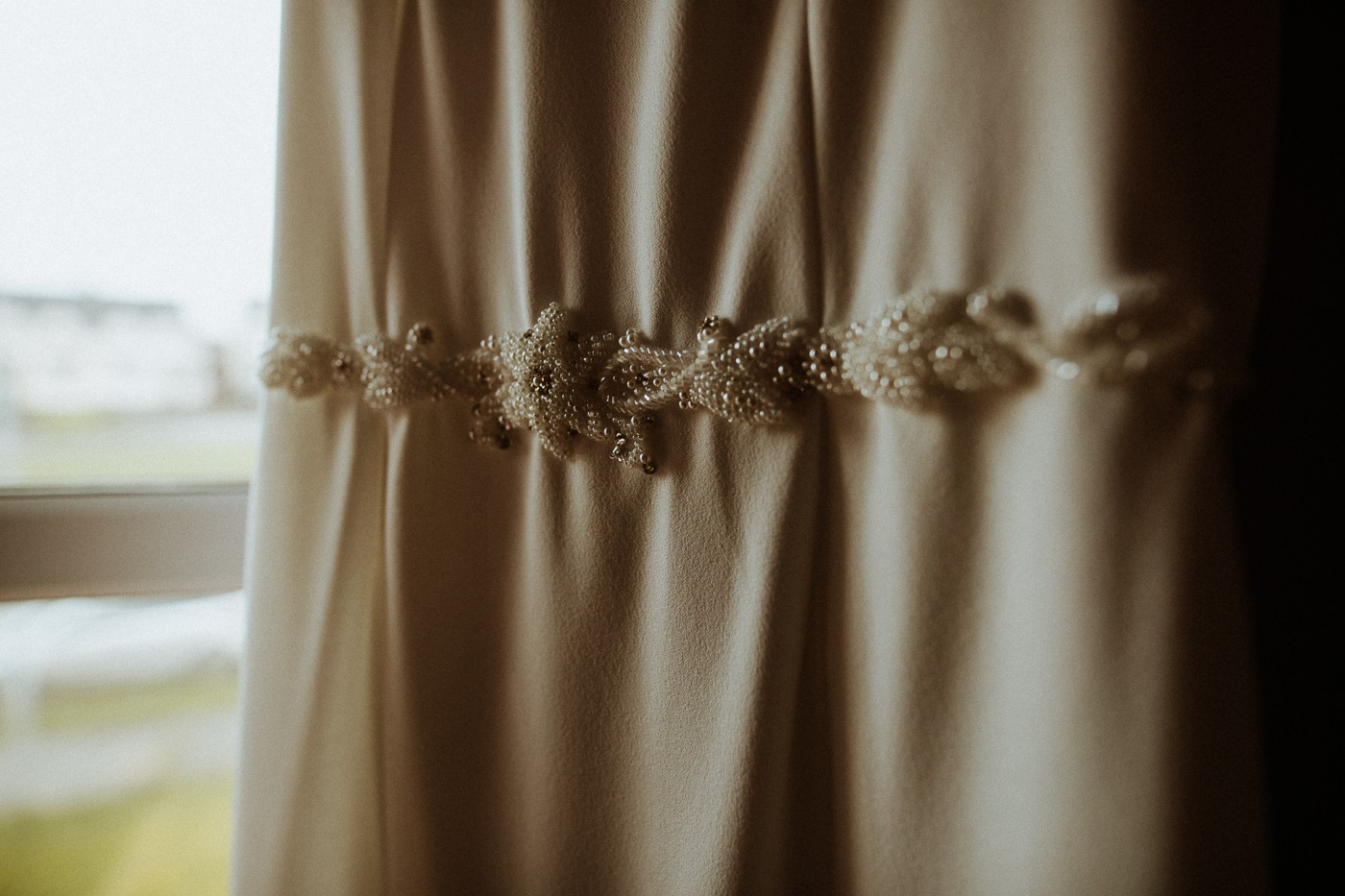 A close up of a curtain