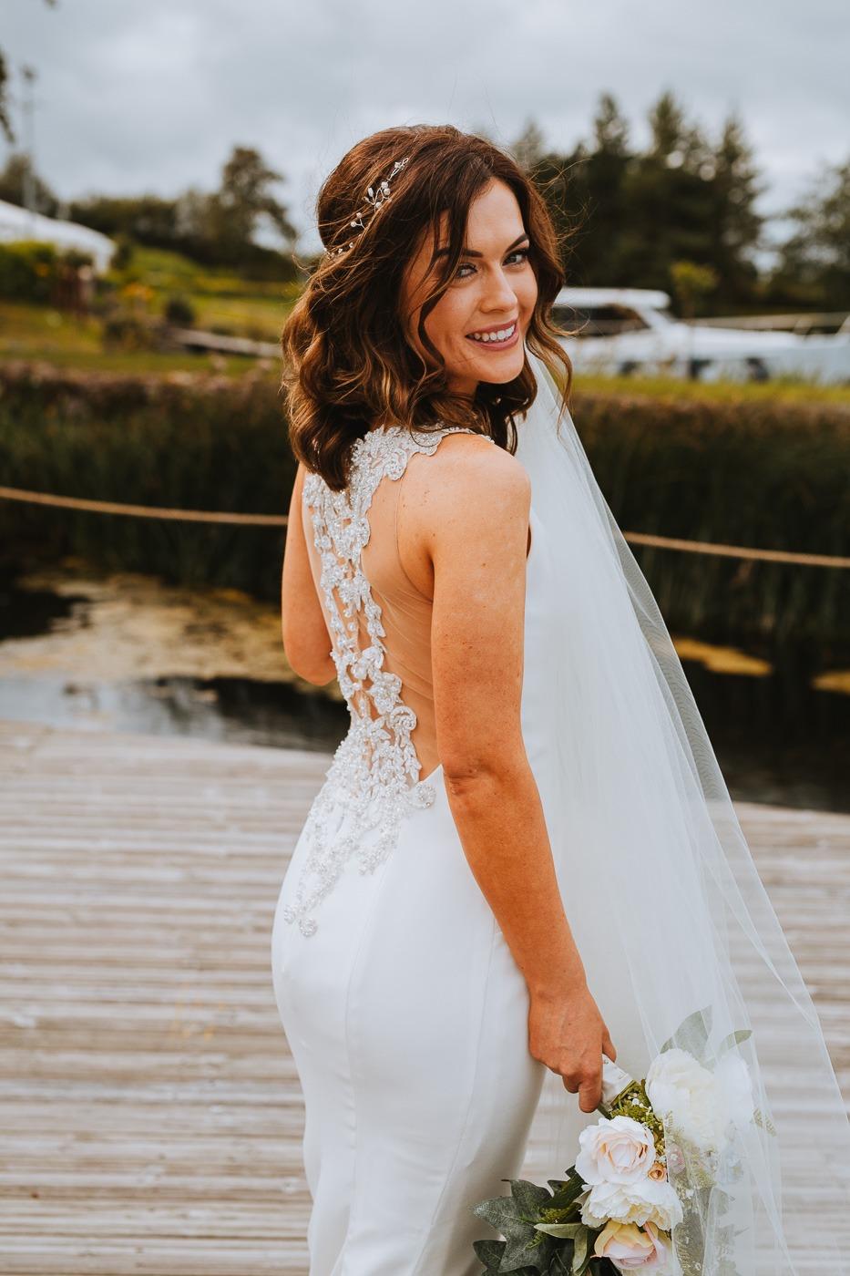 A woman in a white dress