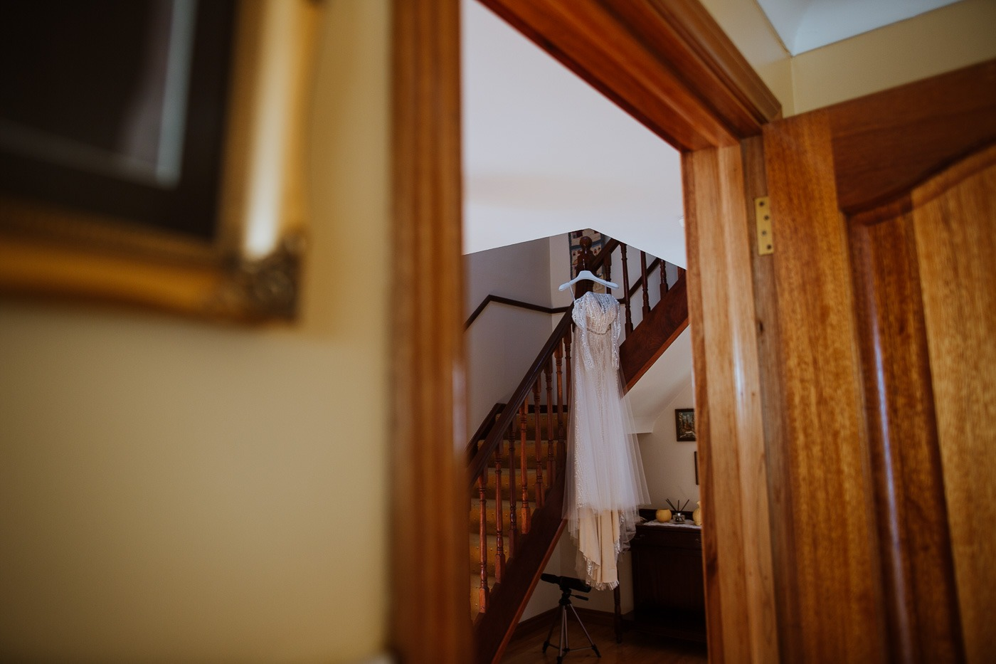 A wooden door in a room