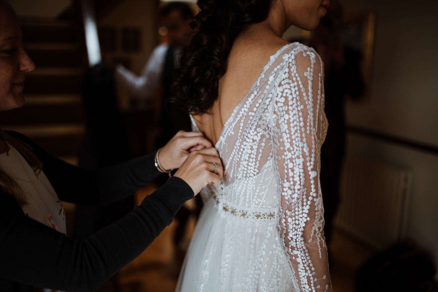 A person wearing a wedding dress
