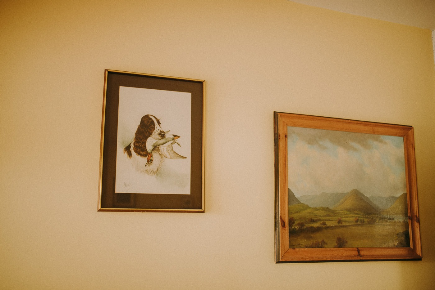 A painting hanging on a wall