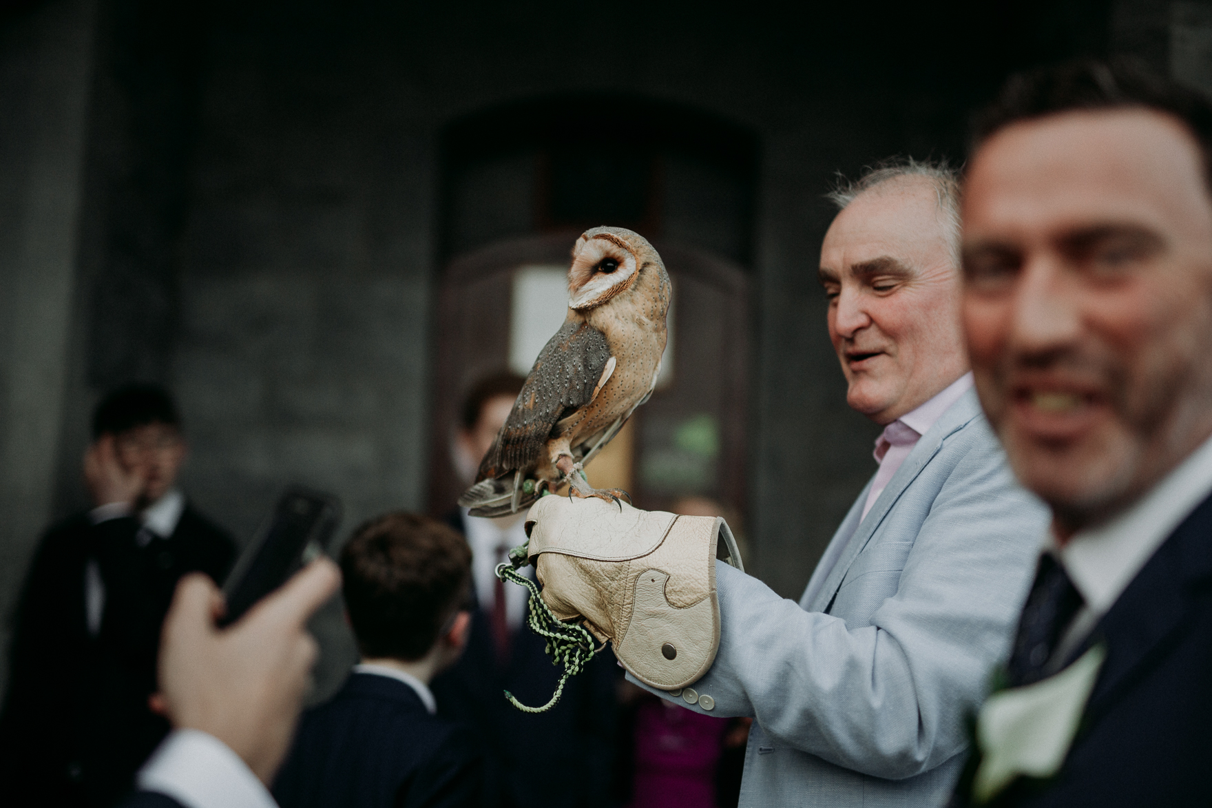 Roland Romanelli standing in front of an owl