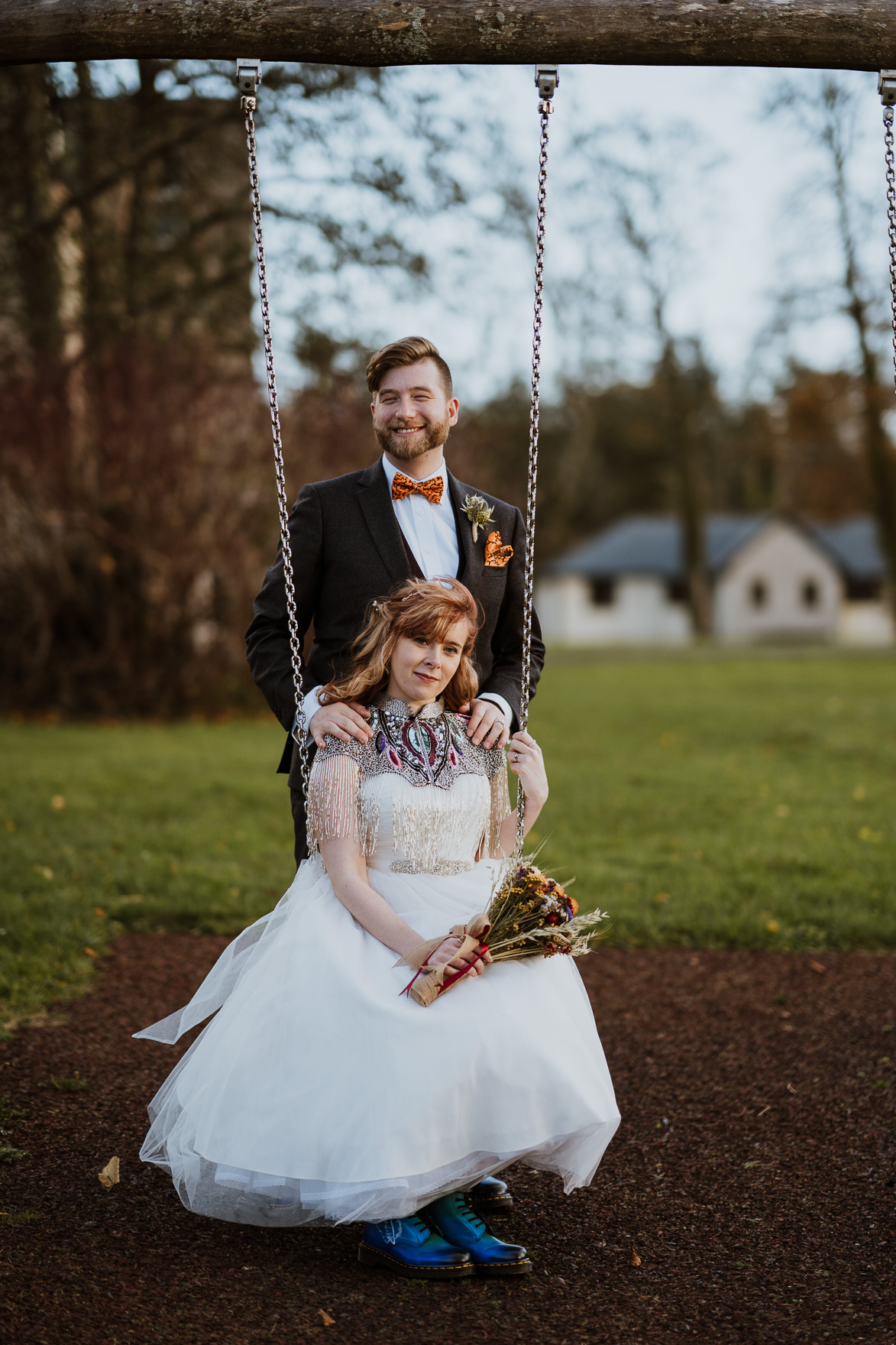 A person in a swing