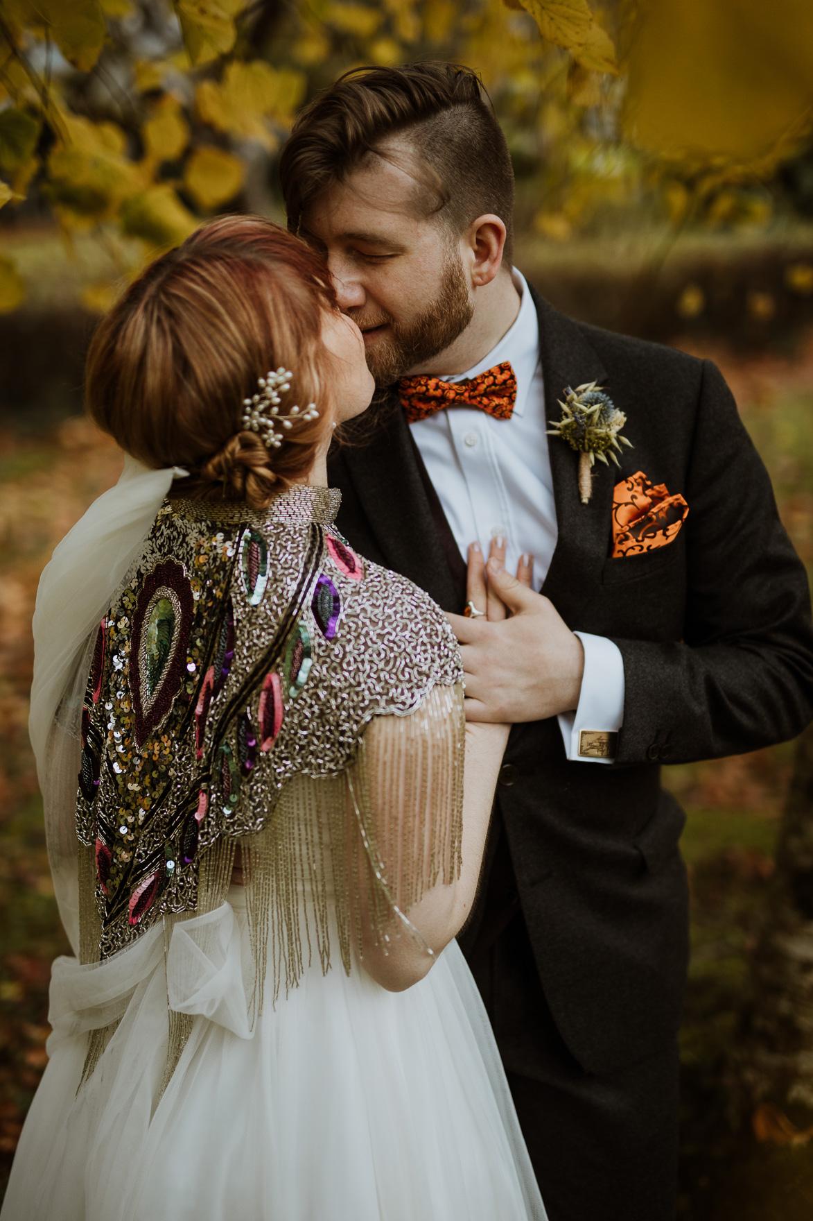 A person wearing a wedding dress
