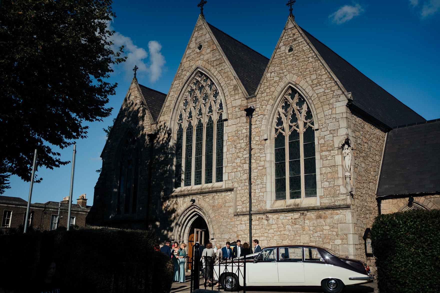 A close up of a church
