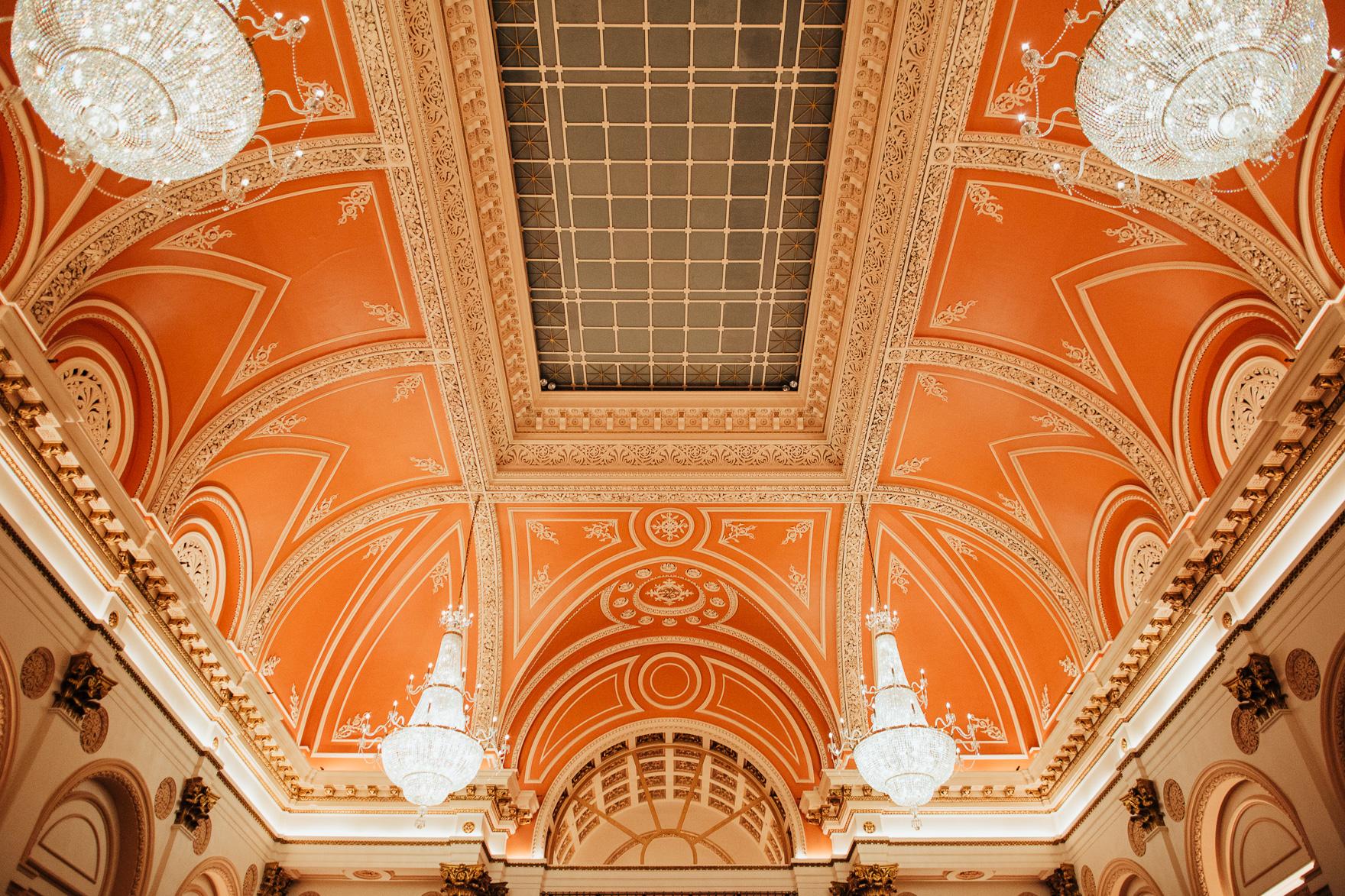 A close up of an orange building