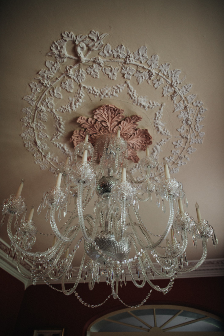 A chandelier hanging from the ceiling