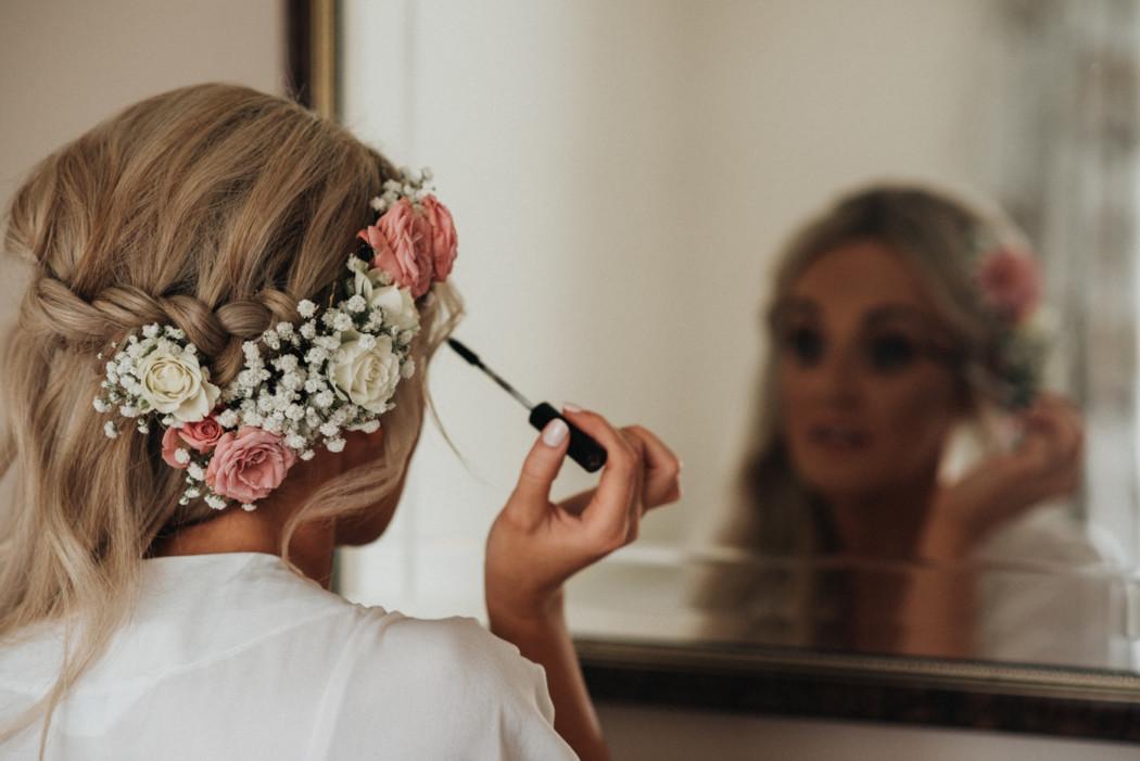 A woman brushing her teeth