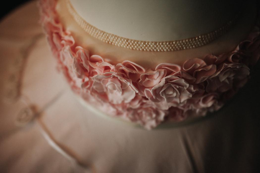 A close up of a cake