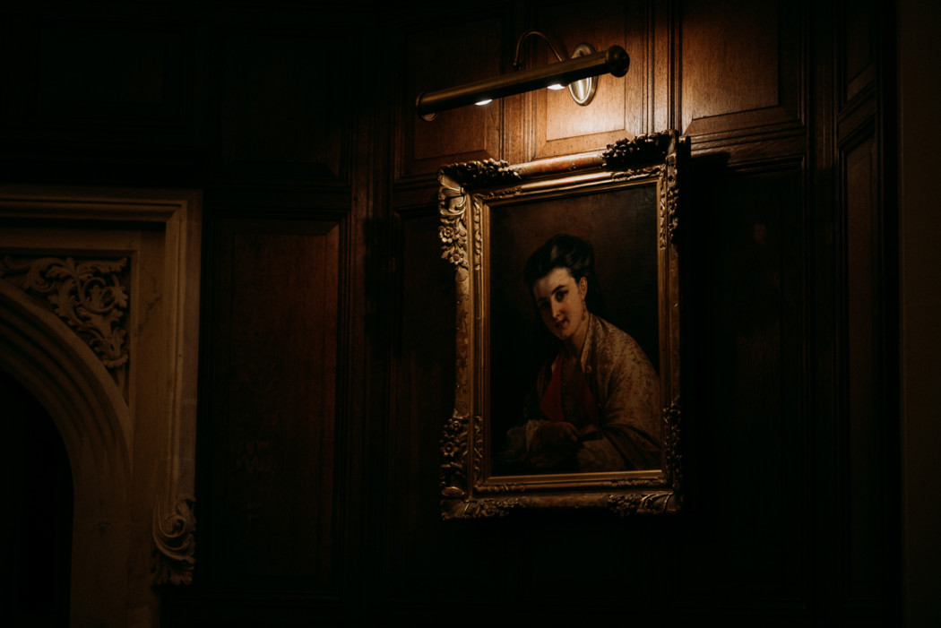 A mirror in a dark room